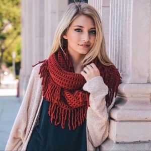 Brick Lattice Knit Fringe Infinity Scarf